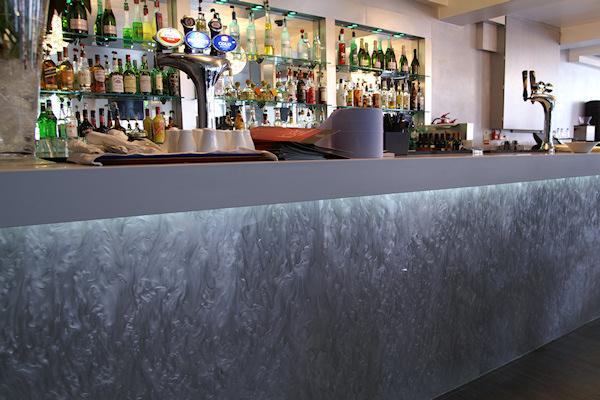 Bar front featuring Silver Pearl P7200. Venue: Crystal-Lounge, Loughton
