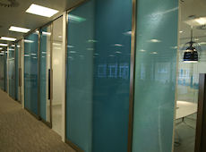 Office partitions and sliding doors  • AIR-board  • Light Blue