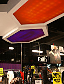 Ceiling panels • ViewPan Plus with Satinglas Purple 51237 and Satinglas Orange 51013